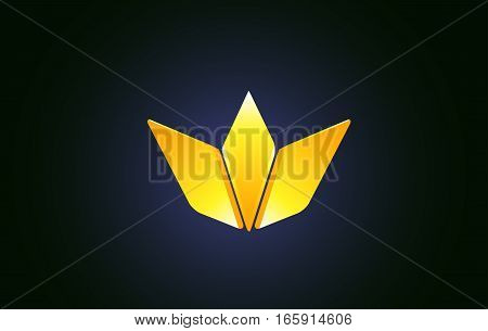 Abstract golden crown king yellow gold vector logo icon sign design template