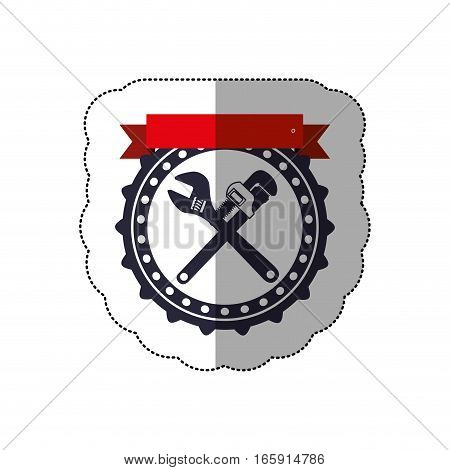 middle shadow sticker with circular frame with crossed wrenches and ribbon vector illustration