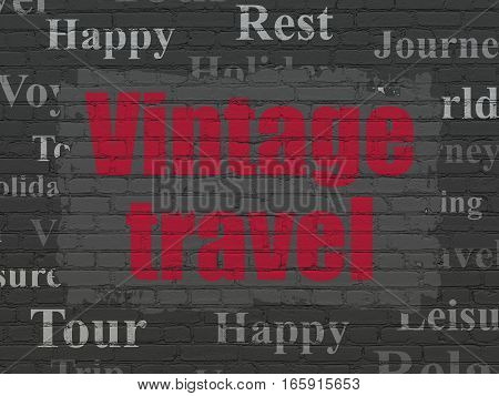 Travel concept: Painted red text Vintage Travel on Black Brick wall background with  Tag Cloud