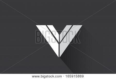 Alphabet letter V long shadow grey white vector logo icon sign design template