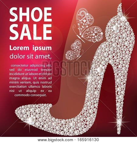Shoe sale design. Elegant ladies high heels shoe shape made with shiny diamonds. Isolated on dark red blurred background. Vector illustration.