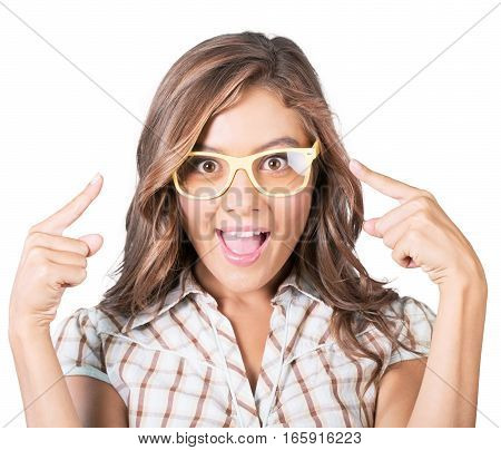 Funny woman wearing glasses. Happy surprised girl pointing her eyewear