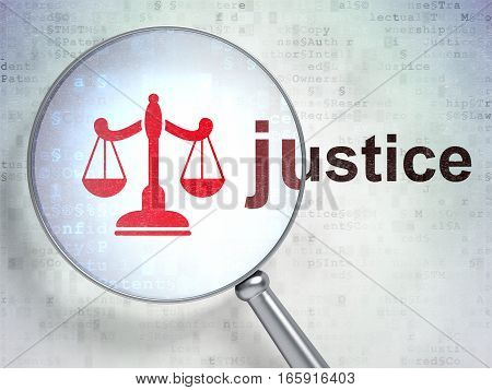Law concept: magnifying optical glass with Scales icon and Justice word on digital background, 3D rendering
