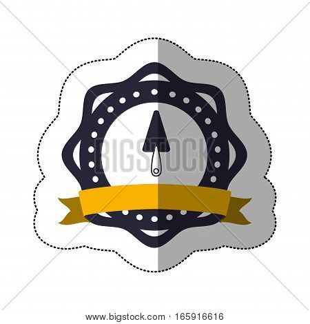 middle shadow sticker with putty knife in circular frame vector illustration