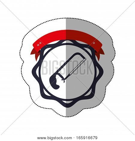 middle shadow sticker with hacksaw between circular shapes and ribbon vector illustration