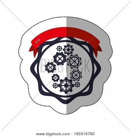 middle shadow sticker with gear wheel between circular shapes and ribbon vector illustration