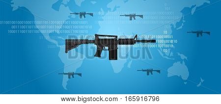 cyber warfare concept gun digital code world wide military assault firearm illustration