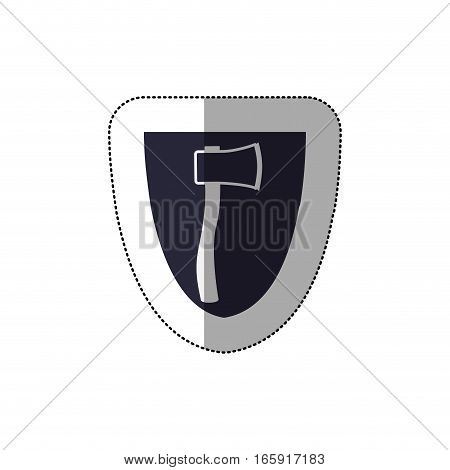 middle shadow sticker with shield frame with ax vector illustration