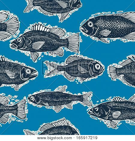 Seamless vector sea pattern different fish silhouettes. Hand drawn fauna aqua nature continuous background.