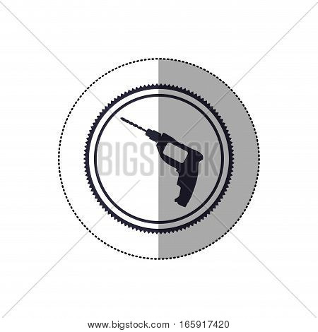 middle shadow sticker with circular frame with drill tool vector illustration
