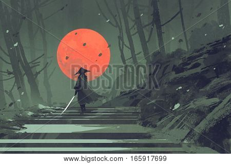Samurai standing on stairway in night forest with the red moon on background, illustration painting