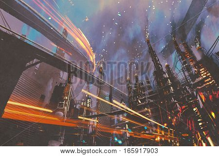 sci-fi scenery of futuristic city with industrial buildings, illustration painting