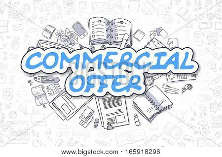 Blue Word - Commercial Offer. Business Concept with Doodle Icons. Commercial Offer - Hand Drawn Illustration for Web Banners and Printed Materials.