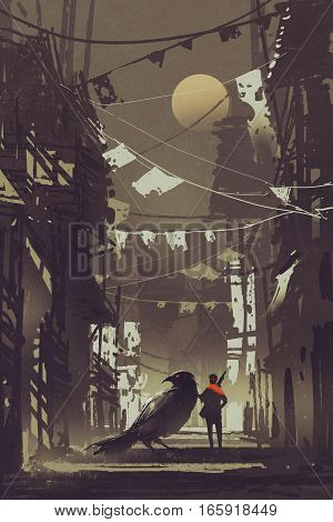 the traveler with his crow in abandoned city at night, illustration painting