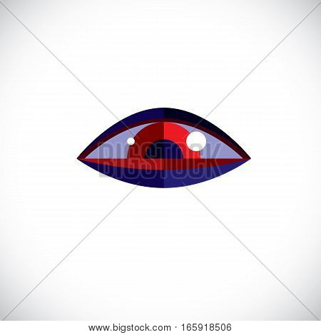Art modern illustration of human eye part of personality face symbolic graphic element can be used in design. Have your personal view at situation.