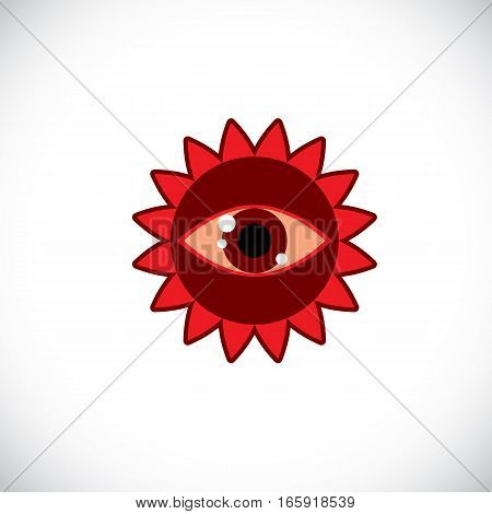 Red sun art illustration made with a human eye inside. Vector meteorology sign weather forecasting symbol isolated on white.