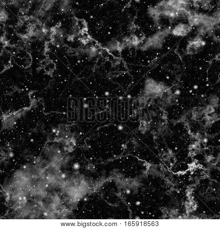 Abstract dark universe.  Cloudy night starry sky. Black and white outer space.  Glittering galactic texture background. Seamless illustration.