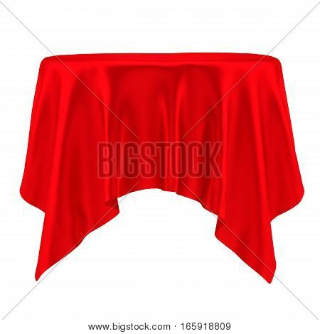 Red tablecloth. Isolated on White Background. 3D illustration