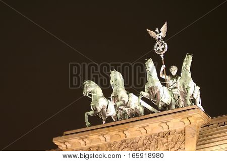 Detail of the Quadriga on top of the Brandenburg Gate, Berlin, Germany.
