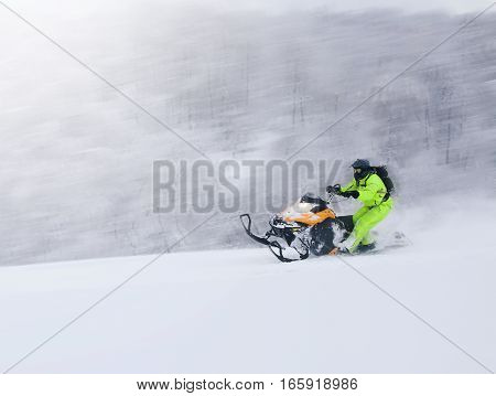 Winter fun girl up the hill to sledding