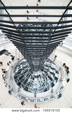 18 NOVEMBER 2005: Wide angle view of the central column within the Reichstag Dome, Berlin, Germany.