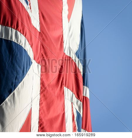 Close detail on a high quality UK union flag also known as the union jack.