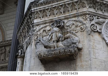 David defeats Goliath. Detail architecture Basilica of Notre-Dame de Fourviere is located on the hill of Fourviere. Lyon. France.