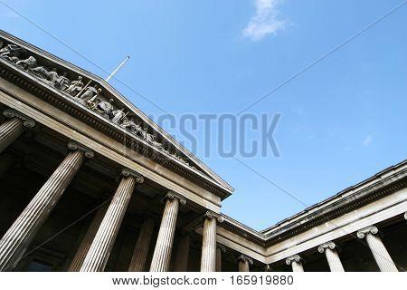 The façade to the British Museum, London, UK.