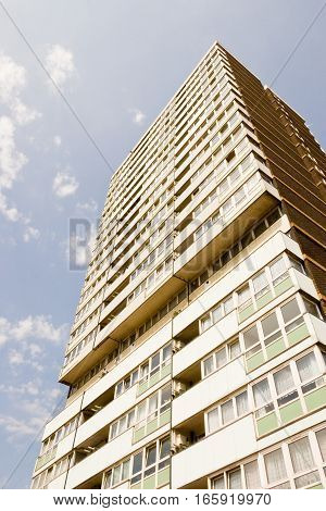 1960's built high rise block of flats in east London