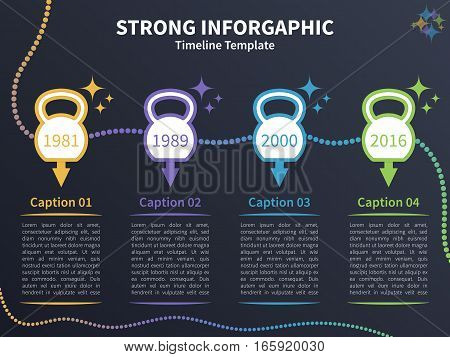 Vector infographic colorful template. Timeline concept with kettlebell stylized elements on the dark background.
