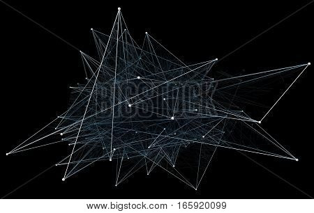 Abstract network connection on black background. 3D illustration