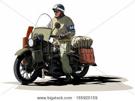 Soldier on a motorcycle World War II illustration art vector.