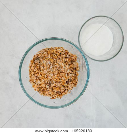 Muesli with a banana and a glass of milk
