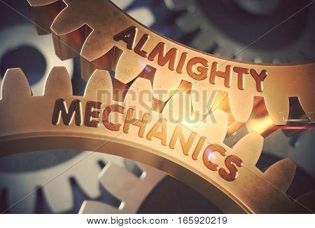 Almighty Mechanics on the Mechanism of Golden Metallic Gears with Glow Effect. Almighty Mechanics on Golden Cog Gears. 3D Rendering.