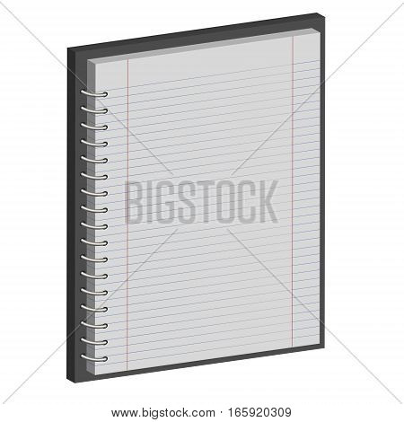 note book paper Notepad, 3D notebook with horizontal lines, vetor template