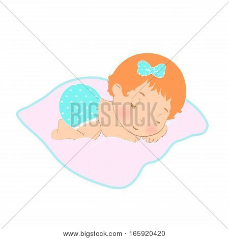 Baby Sleep Logo Icon. Sweet Girl Sleeping In The Diaper. Newborn On A White Background, Vector Illus