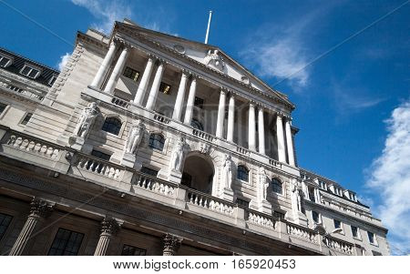 Low angle view of the façade to the Bank of England, London.