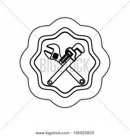 monochrome silhouette sticker with frame with crossed wrenches vector illustration