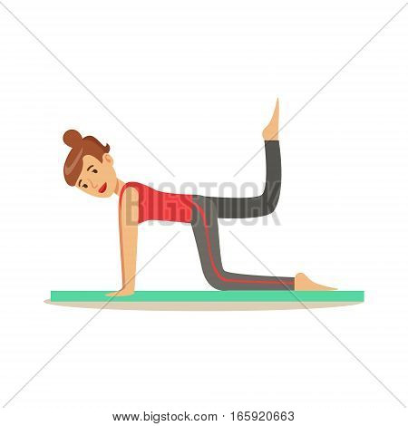 Woman Training Breech Muscles , Member Of The Fitness Club Working Out And Exercising In Trendy Sportswear. Healthy Lifestyle And Fitness Set Of Illustrations With Person Visiting Gym