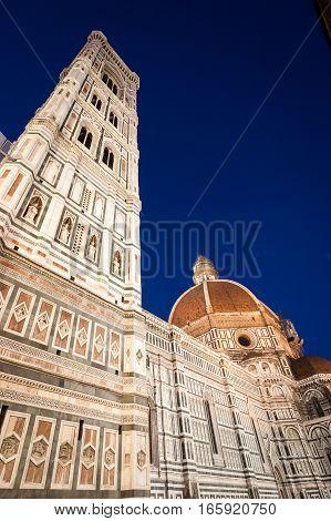 Night views of the exterior to the Basilica di Santa Maria del Fiore or Il Duomo di Firenze as it is ordinarily called.