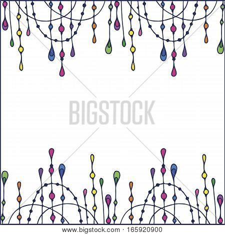 Frame for your text with Beads background. Greeting card invitation banner. Editable isolated elements. Vector illustration. Frame of beads.