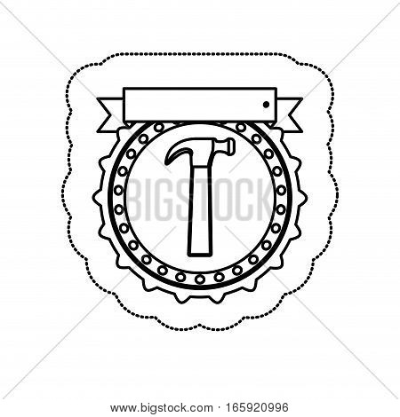 monochrome silhouette sticker with circular frame with hammer and ribbon vector illustration