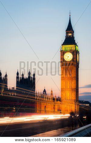 Long exposure night views of the iconic London landmark Big Ben.