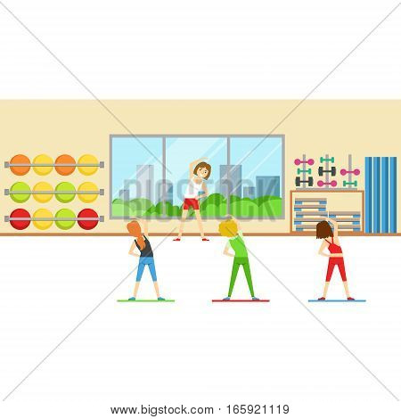 Stretching Class With Woman Trainer , Member Of The Fitness Club Working Out And Exercising In Trendy Sportswear. Healthy Lifestyle And Fitness Set Of Illustrations With Person Visiting Gym