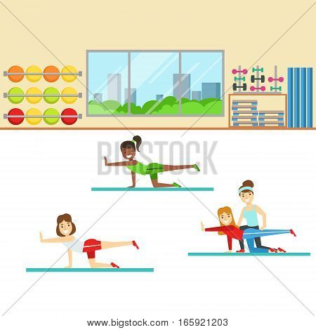 Yoga Class With Trainer Helping And Correcting , Member Of The Fitness Club Working Out And Exercising In Trendy Sportswear. Healthy Lifestyle And Fitness Set Of Illustrations With Person Visiting Gym