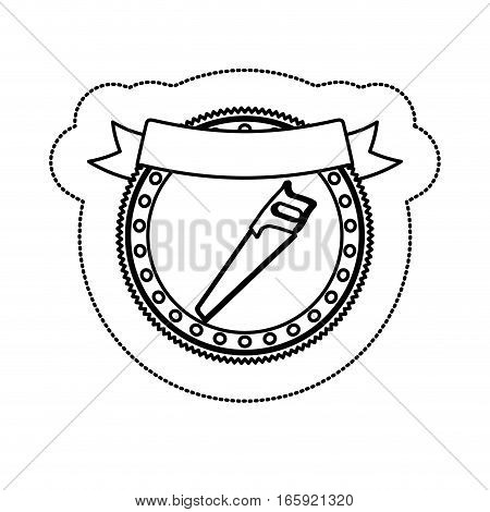 monochrome silhouette sticker with circular frame with handsaw and ribbon vector illustration