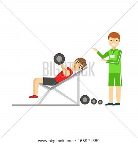 Man Weight Lifting With Personal Trainer, Member Of The Fitness Club Working Out And Exercising In Trendy Sportswear. Healthy Lifestyle And Fitness Set Of Illustrations With Person Visiting Gym