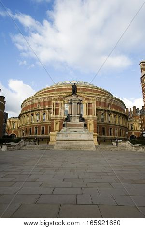 The iconic architecture of the Royal Albert Hall in Kensington West London. The music venue is home to the popular Proms series of concerts.