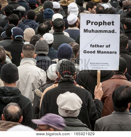 London UK - February 18 2006: A public demonstration in London's Trafalgar Square as Muslims react against the controversial cartoons in a Danish newspaper.