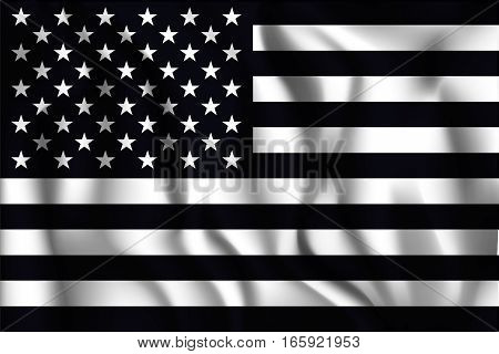 Black And White American Flag. Rectangular Shaped Icon With Wavy Effect. Aspect Ratio 2 To 3